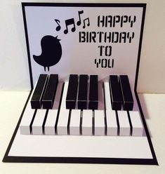 Happy Birthday #piano 3D  Popup SVG Cutting File by MyCasualWhimsy,