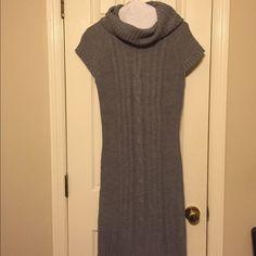 "Grey sweater dress Dress about 40"" from shoulder to hem. Size M/L Grey cowl neck cap sleeve sweater dress. Ribbed hem Dresses"