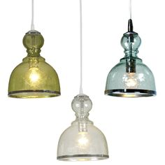 I love the color and shape of these glass pendants and the texture that the seeded glass adds. They would look great in a trio above the island.