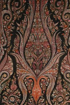 Beautiful old hand-embroidered Indian paisley shawl