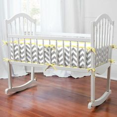 Gray and Yellow Zig Zag Cradle Bedding (I want it for my nursery!)