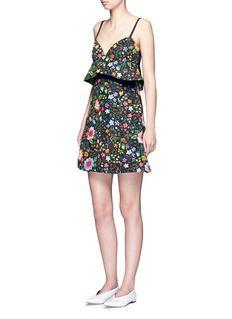 VICTORIA, VICTORIA BECKHAM Floral print peplum waist faille dress