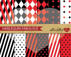 Harlequin Red & Black Patterns Pack by All is full of Love on Creative Market