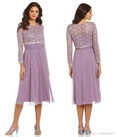 Mother Dresses For Weddings Elegant Long Sleeves Lace Mother Of The Bride Groom Dresses 2016 Jewel Neck Knee Length Lilac Women Formal Evening Wear 2015 Custom Made Mother Of Bride Dresses For Beach Wedding From Whiteone, $109.96| Dhgate.Com