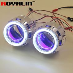 (59.99$)  Buy here  - ROYALIN 2.5 HID Bi Xenon H1 Projector Headlight Lens LHD RHD w/ 70mm COB Angel Eyes white Blue Red Devil Eyes for H4 H7 Car DIY