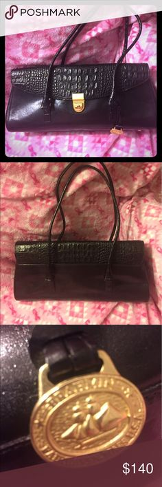 Brahmin Black Tote Crocodile leather Excellent condition- all black leather 💯authentic Brahmin Tote ~smooth and crocodile leather- Brahmin brass hang tags - flap closure with buckle- double handles- Like new - Brahmin Bags Shoulder Bags