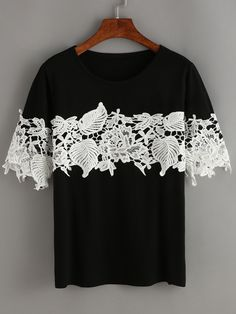 Black Contrast Lace T-Shirt — 0.00 € ----------------------------color: Black size: L,M,XL