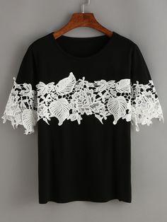 Camiseta encaje combinado -negro-Spanish SheIn(Sheinside) Sitio Móvil
