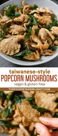 Crispy Taiwanese-Style Popcorn Mushrooms Vegan Gluten Free, Gluten Free Recipes, Vegan Meals, Vegetarian Recipes, Vegan Finger Foods, Thai Vegan, Dairy Free Alternatives, Fresh Oysters, Stuffed Mushrooms