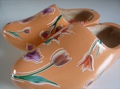 Oranje klompen met tulpen