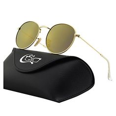 CGID Retro Vintage Style John Lennon Inspired Round Metal Circle Polarized Sunglasses with Gift Package - Model B Gold Frame Brown Lens Mirrored Style Retro, Dress Gloves, Retro Vintage, Vintage Style, Knitted Gloves, Ladies Party, John Lennon, Gift Packaging, Hunter Green