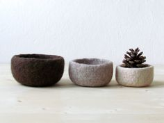 Felt bowl / ombre brown / eco-friendly storage / ring holder / fall home decor on Etsy, $37.90