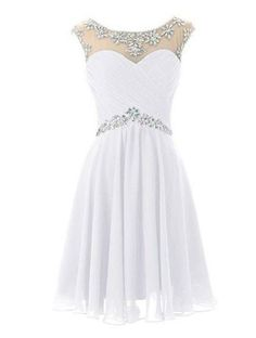 Illusion Neck Rhinestone Beaded White Chiffon Homecoming Dresses,Short prom dress