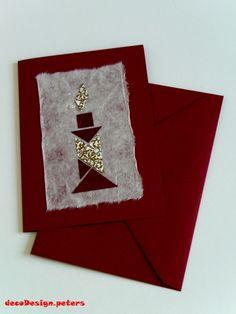 "Weihnachtskarte  ""Tangram-Kerze"" rot-rot-gold von decodesign.peters auf DaWanda.com"