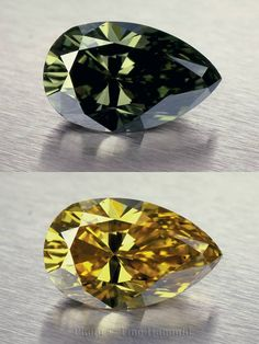 A 'Chameleon' diamond photographed by Tino Hammid and featured in The Handbook of Gemmology. These unique diamonds undergo a temporary colour change (greenish to yellow) when exposed to heat ranging from 125 to 150 Celsius for up to a minute (thermochroism) or when stored in a dark place (photochroism).