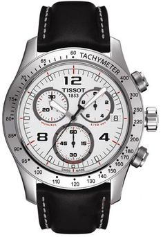Stainless steel case, Black leather strap, Pin buckle, White dial, Luminous hands and hour markers, Tachymeter scale on the bezel, Chronograph features (hours, minutes, and seconds), Quartz-Chronograph movement, Water resistant to 660ft.