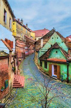 The colorful streets of Sibiu, Romania.