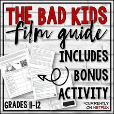 "This film guide is intended to be used with the documentary ""The Bad Kids."" (""The Bad Kids"" is currently available on Netflix.) This resource includes before, during, and after viewing activities including a ""Design Your Own School"" project based on Maslow's Hierarchy of Needs. No prep is necessary."