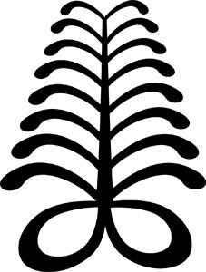 "Aya ""fern"" symbol of endurance and resourcefulness The fern is a hardy plant that can grow in difficult places. ""An individual who wears this symbol suggests that he has endured many adversities and outlasted much difficulty."" (Willis, The Adinkra Dictionary)"
