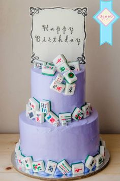 Mahjong cake for a mahjong addict who turned 56.