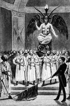 Baphomet presiding over a Templar ritual by Leo Taxil.