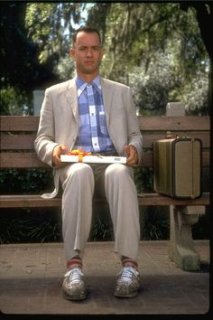 "Forrest Gump was made in 1994 and directed by Robert Zemmekis. It starred the oh so famous Tom Hanks as Forrest and Robin Wright as Jenny, Forrest's best friend through out the movie. This picture is from the scene where Forrest says: ""Mamma said, life's like a box of chocolates, never know what your gonna get."""