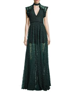 Eleanora Lace Cap-Sleeve Gown