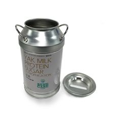 milk tin can with metal handle