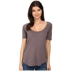 LAmade Circle Raglan Tee Women's T Shirt ($35) ❤ liked on Polyvore featuring tops, t-shirts, brown tee, scoop-neck tees, brown t shirt, relax t shirt and relaxed fit tee