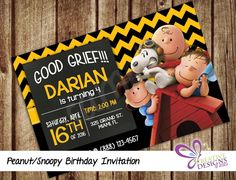 Peanut / Snoopy Birthday Invitation - Personalized - Digital Printable File