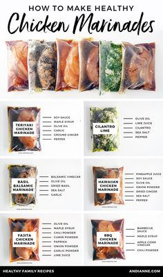 Six healthy chicken marinade recipes for easy dinners. These marinades are delic. - Six healthy chicken marinade recipes for easy dinners. These marinades are delicious and healthy an - Fajita Chicken Marinade, Cilantro Chicken, Marinade For Chicken Easy, Steak Marinade Recipes, Chicken Seasoning, Marinade For Pork Chops, Chicken On The Grill, Salmon Marinade, Fajita Seasoning