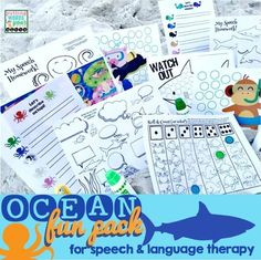 Ocean Fun Pack {for speech & language therapy!} A 64 page download chocked full of speech and language activities!