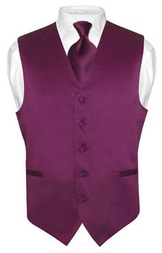 Men's EGGPLANT PURPLE Tie Dress Vest and NeckTie Set for Suit or Tuxedo