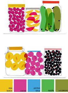 illustration of jars of preserves by Jenny Bowers for Elle Decoration