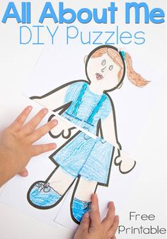 These 'all about me' DIY Puzzles are so cute! Kids can draw themselves and then create a puzzle. Clever!