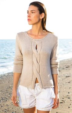 Ladies Top Free Knitting Pattern with a Center Cable