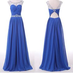 Royal Blue Floor-Length Dress with Illusion Neckline and Backless Detailing - Prom Dress, Evening Dress, Homecoming Dress
