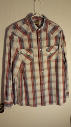Sonoma Mens Gray Plaid Long Sleeve Pearl Snap Western Cowboy Rodeo Shirt Size M #Sonoma #Western
