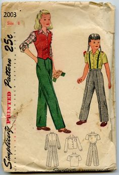 1940s Vintage Sewing Pattern Simplicity 2003 by GreyDogVintage