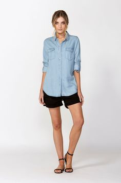 The best of what's new! Shop the Chambray Button Through Shirt in stores and online now www.decjuba.com.au @Decjuba