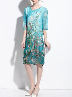 Half Sleeve Elegant Shift Floral Midi Dress | fantiow.  LOVE the colour and the fabric, but wish it was a kimono cardigan not a dress.