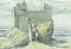 Watercolour by David L. Roberts of Dun Sgathaich, Tokavaig as it might have looked around 1570 Medieval Castle, Medieval Fantasy, Sci Fi Fantasy, Historical Maps, Historical Architecture, Chateau Moyen Age, Castle Illustration, Watercolor Landscape, Watercolour