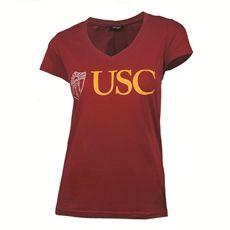 USC Women's Cardinal Shield V Neck T-Shirt 07L
