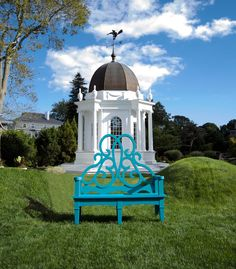 Ode to Newport 2: The Parterre Bench Newport Blue, City By The Sea, Culture Shock, Spring Garden, Made In America, Rhode Island, Garden Furniture, Alice In Wonderland, Taj Mahal