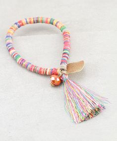 Rainbow Shell & Goldtone Charm Tassel Stretch Bracelet