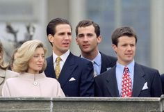 From left: Princess Marie-Chantal and Prince Pavlos of Greece, (then) Prince Felipe of Spain, Crown Prince Frederik of Denmark. all cousins.