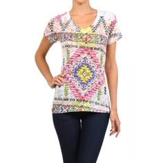 Burnout, tribal inspired print, V-neck, capped sleeve, top.