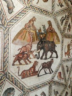 Lod mosaic, central panel with wild animals