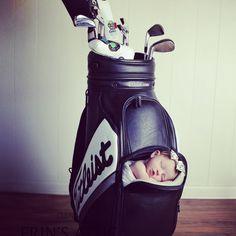 Baby in a golf bag, newborn photos