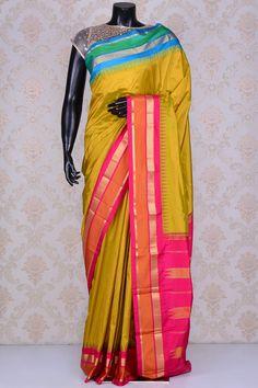 Metallic lime green pure silk resplendent saree with zari weaved pallu